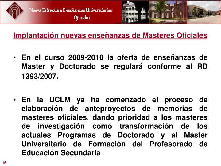 Implantación nuevas enseñanzas de Masteres Oficiales