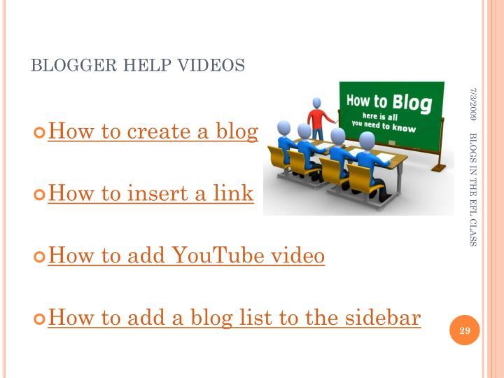 blogger help videos