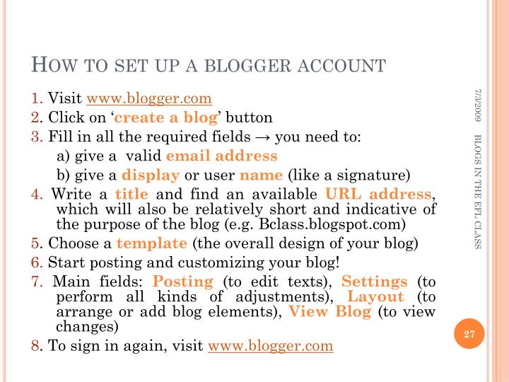How to set up a blogger account