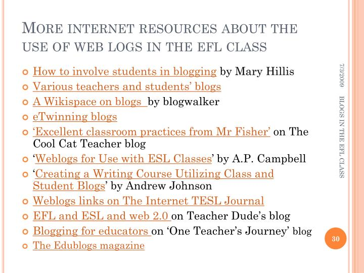 More internet resources about the use of web logs in the