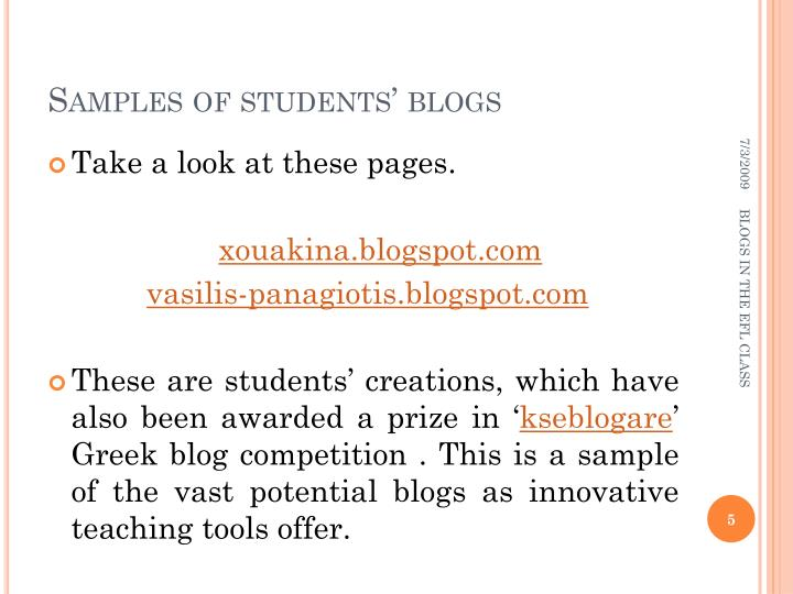 Samples of students' blogs