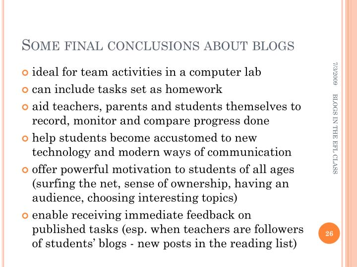 Some final conclusions about blogs
