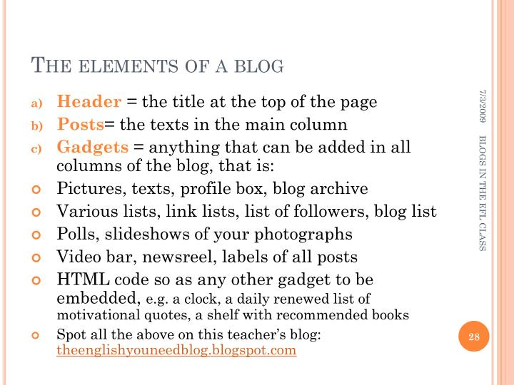 The elements of a blog
