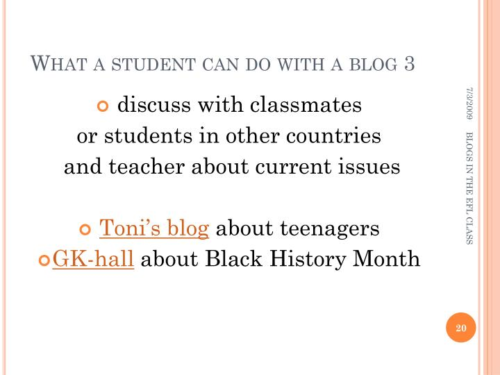 What a student can do with a blog 3