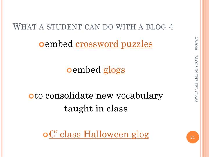 What a student can do with a blog 4