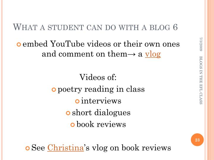 What a student can do with a blog 6