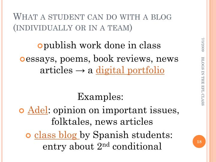 What a student can do with a blog (individually or in a team)