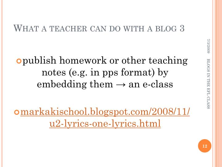 What a teacher can do with a blog 3