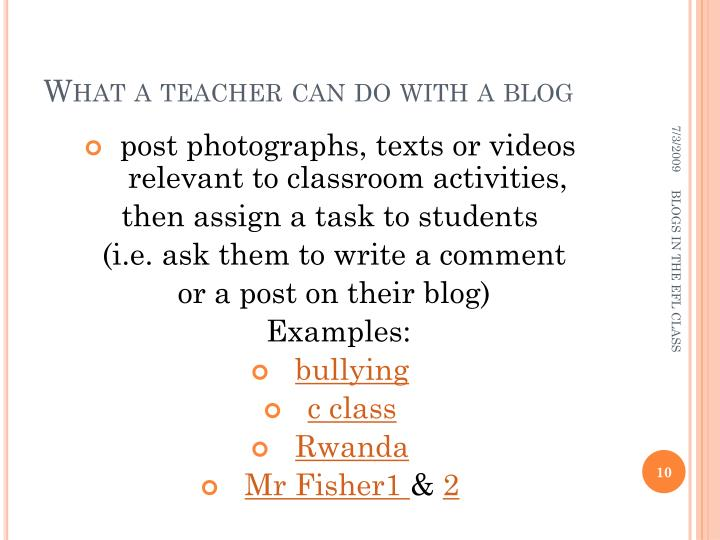 What a teacher can do with a blog