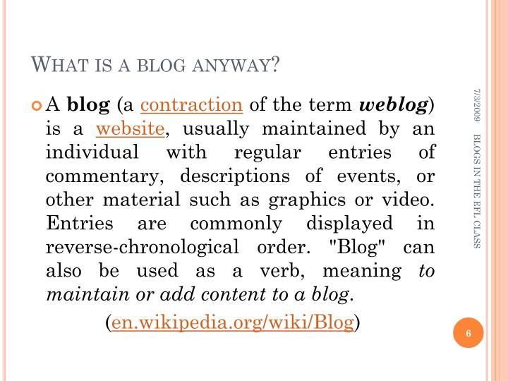 What is a blog anyway?