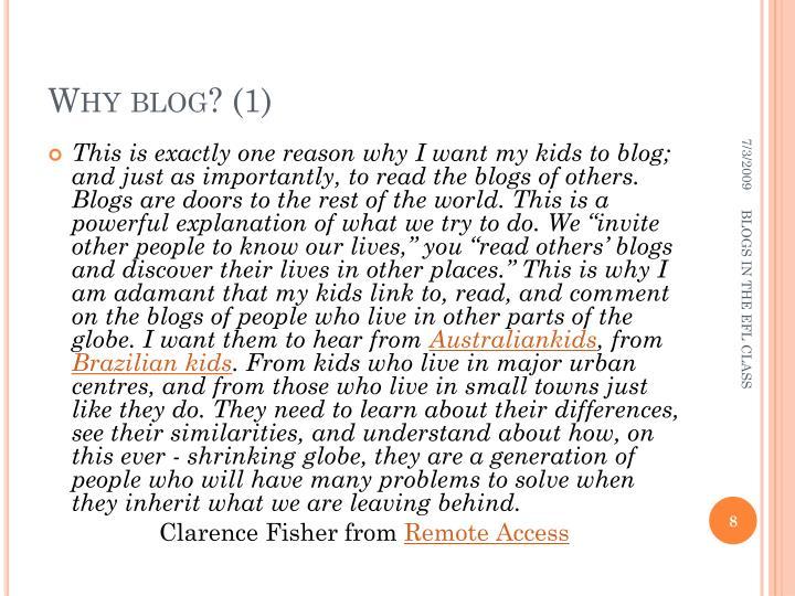 Why blog? (1)