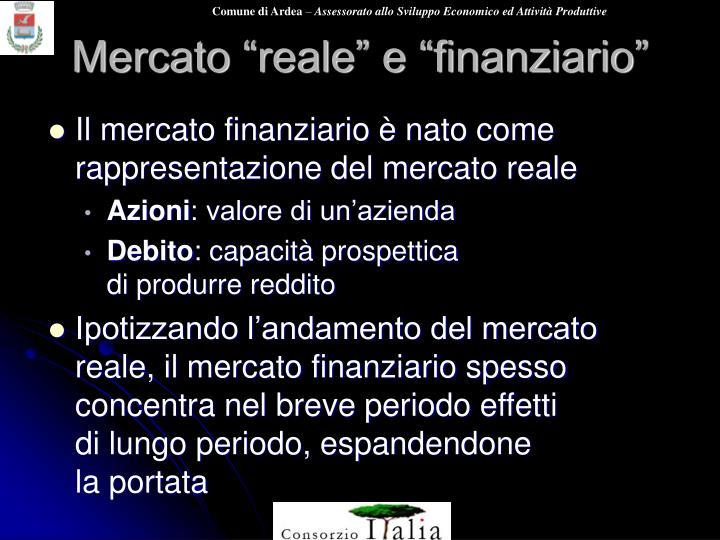 """Mercato """"reale"""" e """"finanziario"""""""