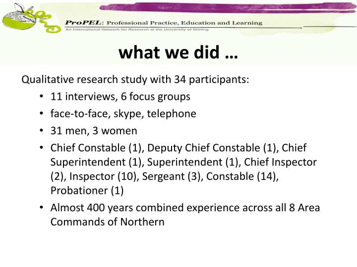 what we did …