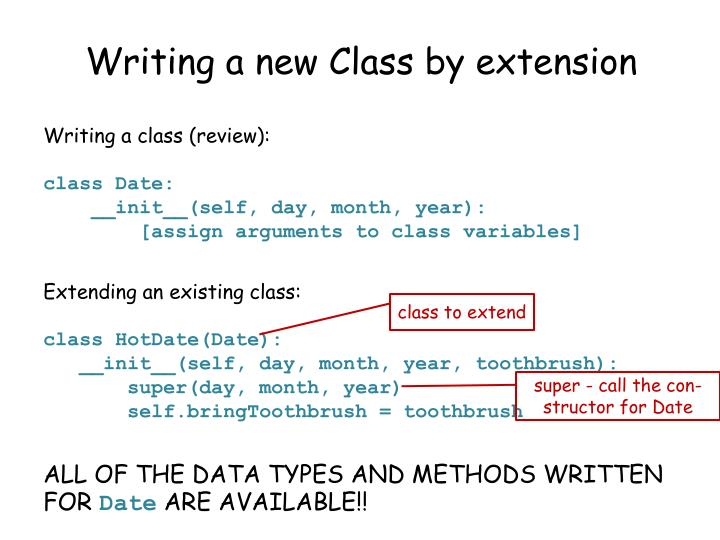 Writing a new Class by extension