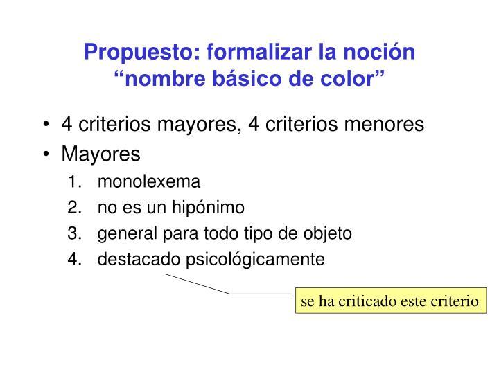 """Propuesto: formalizar la noción """"nombre básico de color"""""""
