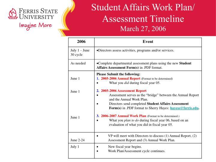 Student Affairs Work Plan/  Assessment Timeline