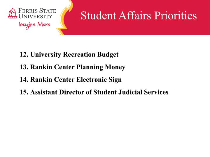 Student Affairs Priorities