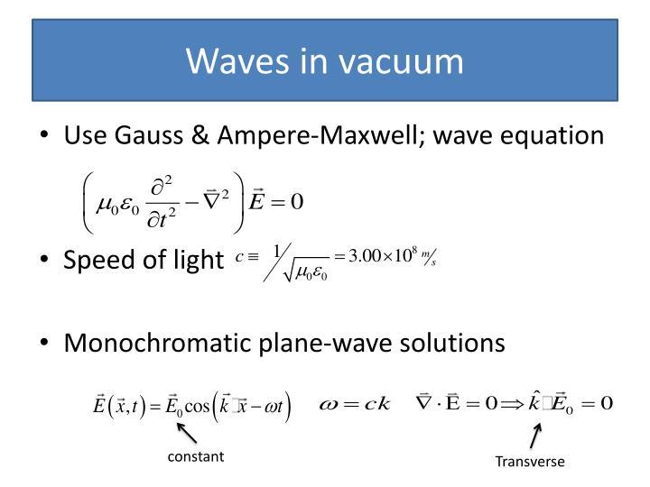 Waves in vacuum