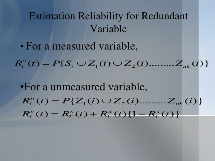 Estimation Reliability for Redundant Variable