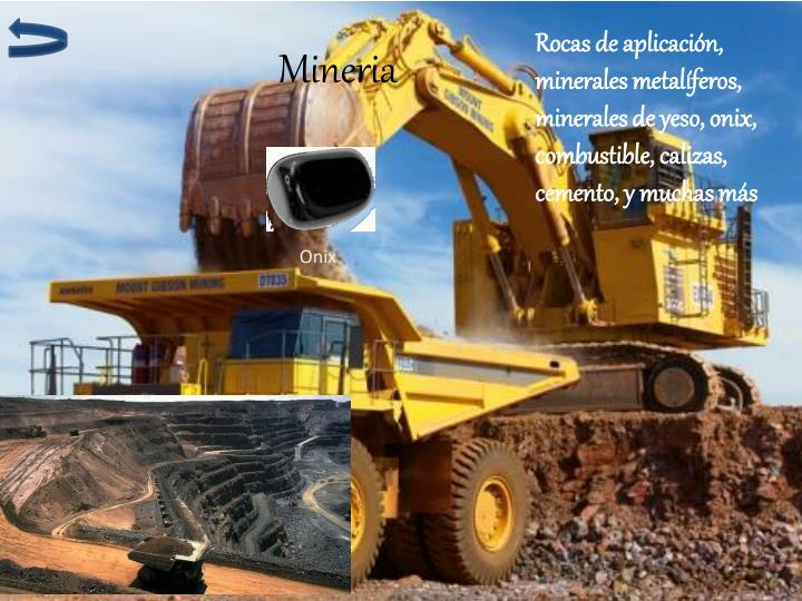 Rocas de aplicación, minerales metalíferos, minerales de yeso, onix, combustible, calizas, cemento, y muchas