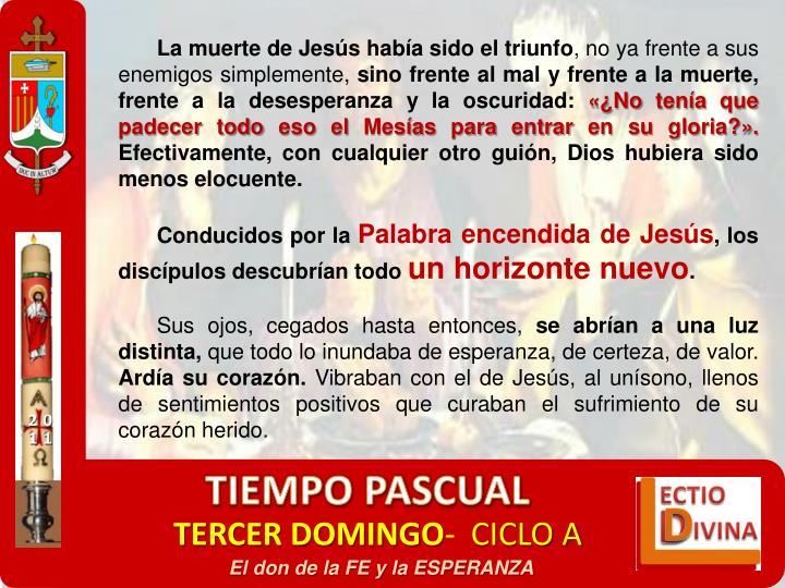 La muerte de Jesús había sido el triunfo