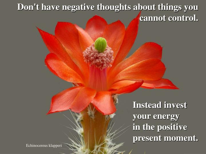 Don't have negative thoughts about things you cannot control.