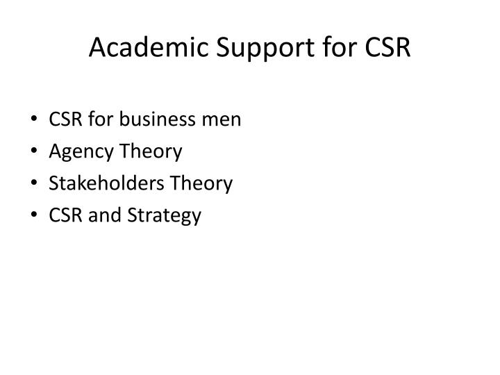 Academic support for csr