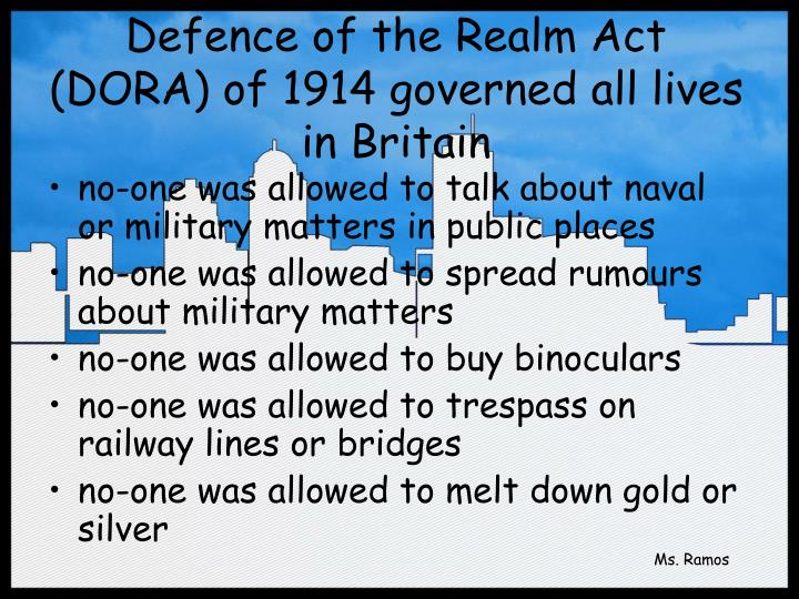 defence of the realm act essay Draft: please do not circulate or cite without the author's permission public order in britain's wartime emergency, 1914–18: the defence of the realm act.