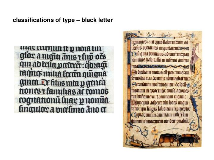 classifications of type – black letter