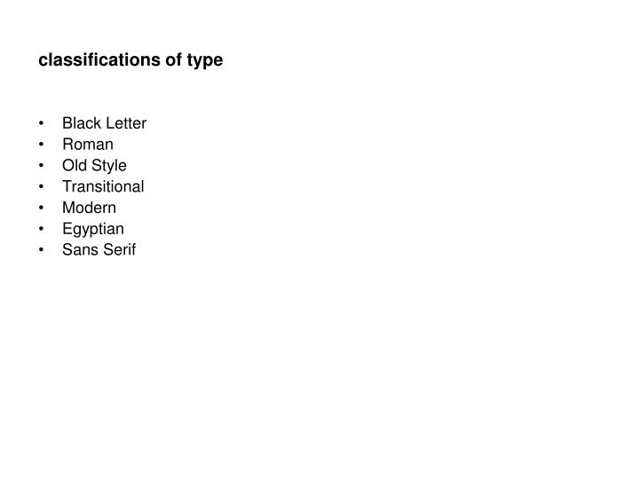 classifications of type