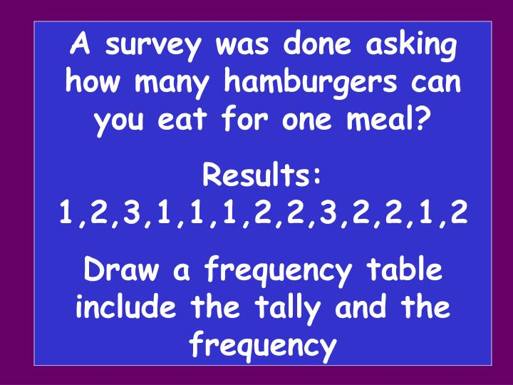 A survey was done asking how many hamburgers can you eat for one meal?