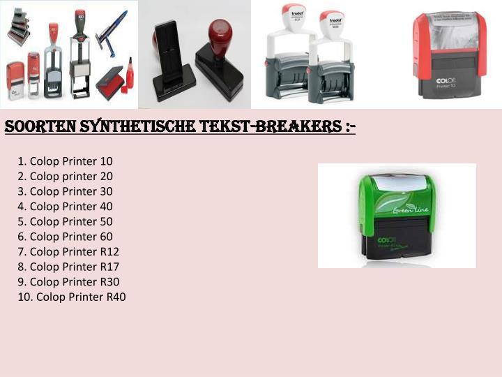 Soorten Synthetische tekst-breakers