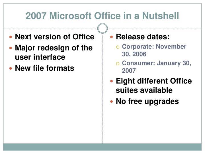 2007 Microsoft Office in a Nutshell
