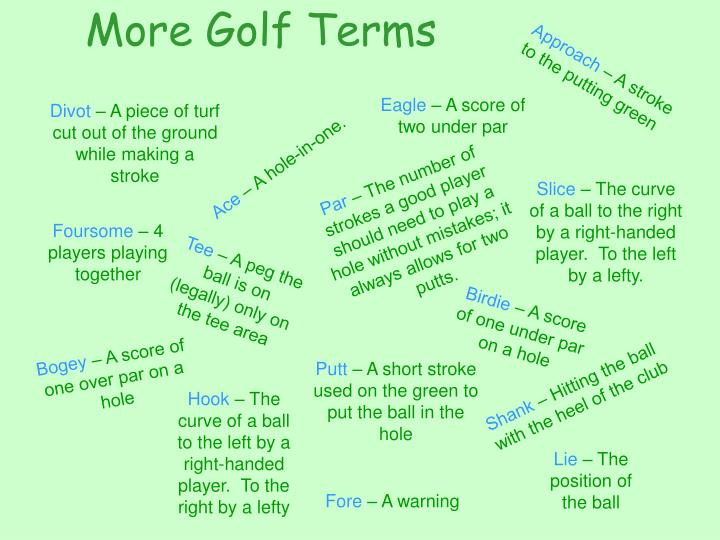More Golf Terms