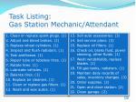 task listing gas station mechanic attendant