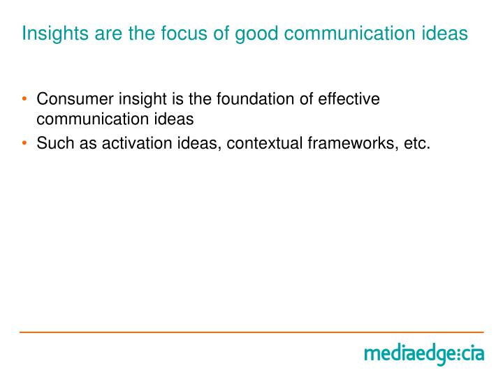 Insights are the focus of good communication ideas
