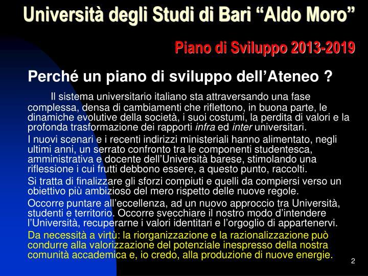 Universit degli studi di bari aldo moro piano di sviluppo 2013 20191
