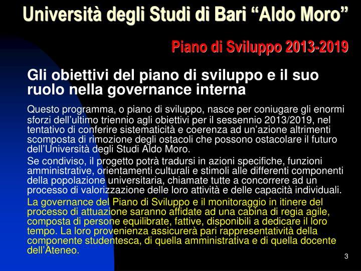 Universit degli studi di bari aldo moro piano di sviluppo 2013 20192
