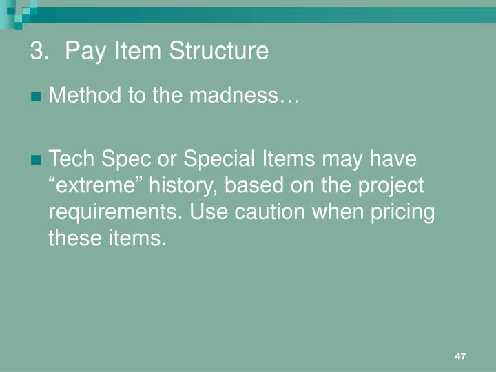 3.  Pay Item Structure