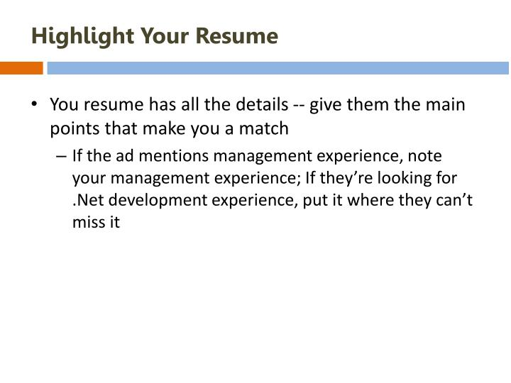 Highlight Your Resume