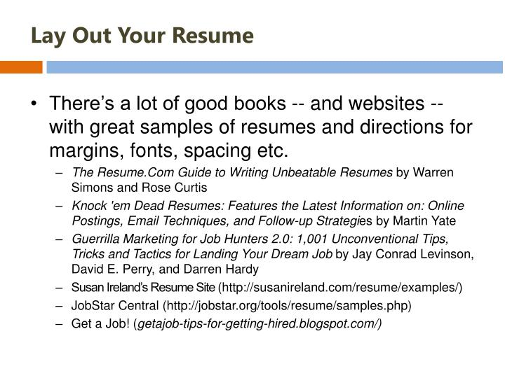 Lay Out Your Resume