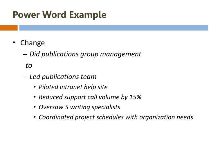 Power Word Example