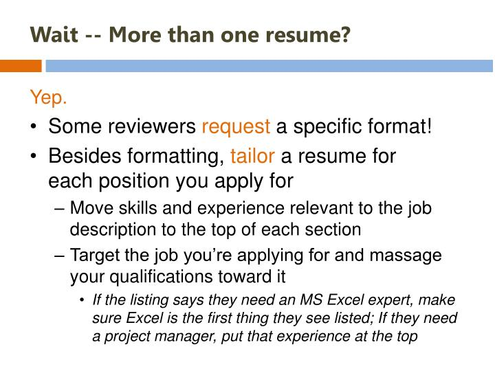 Wait -- More than one resume?