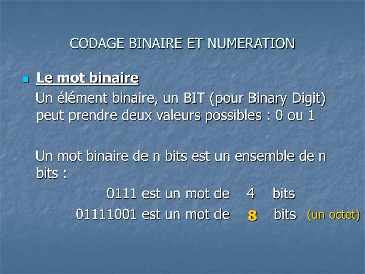 Codage binaire et numeration