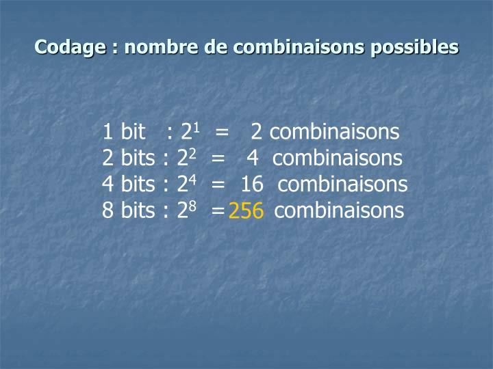 Codage: nombre de combinaisons possibles