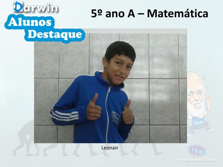 5º ano A – Matemática