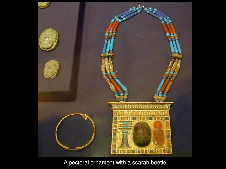 A pectoral ornament with a scarab beetle