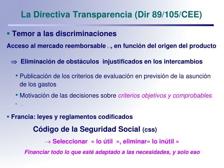 La directiva transparencia dir 89 105 cee
