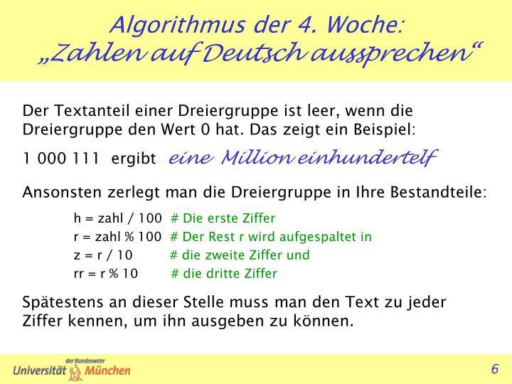 Der Textanteil einer Dreiergruppe ist leer, wenn die Dreiergruppe den Wert 0 hat. Das zeigt ein Beispiel: