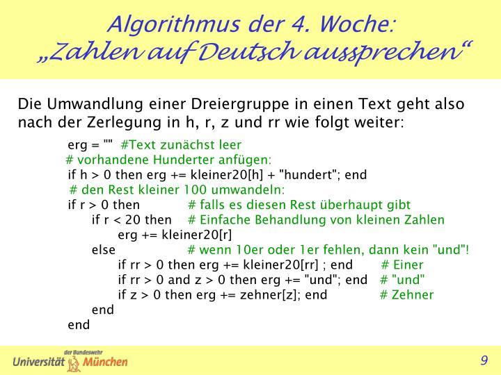 Die Umwandlung einer Dreiergruppe in einen Text geht also nach der Zerlegung in h, r, z und rr wie folgt weiter: